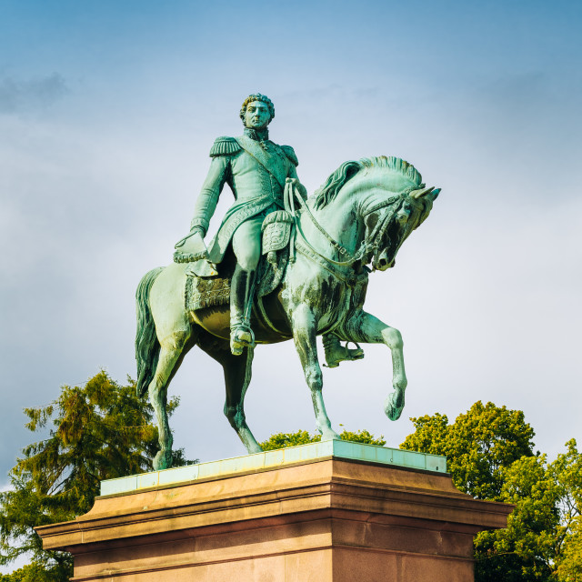 """Statue of Norwegian King Karl Johan XIV in Oslo, Norway"" stock image"