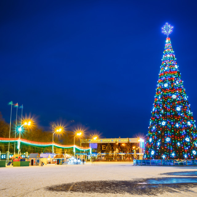 """""""Christmas Tree And Festive Illumination On Lenin Square In Gomel. New Year In..."""" stock image"""