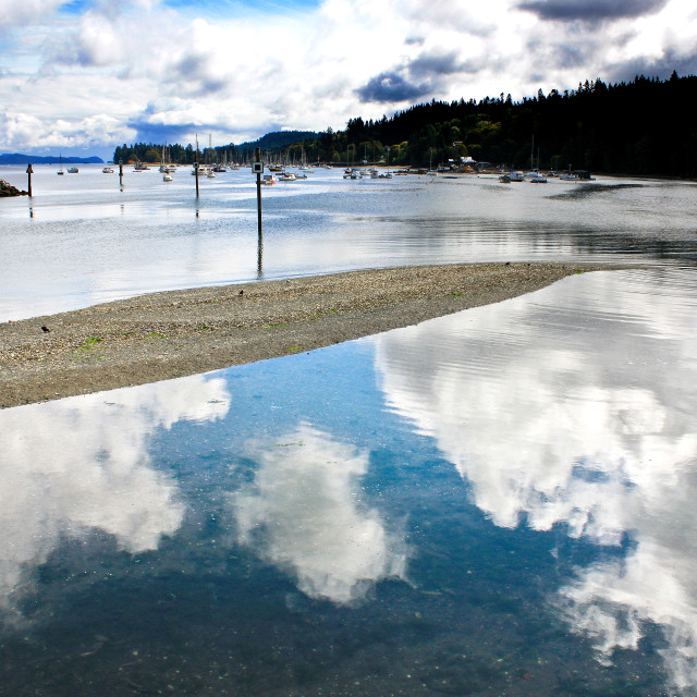 """Cloud Reflections - Vancouver Island"" stock image"