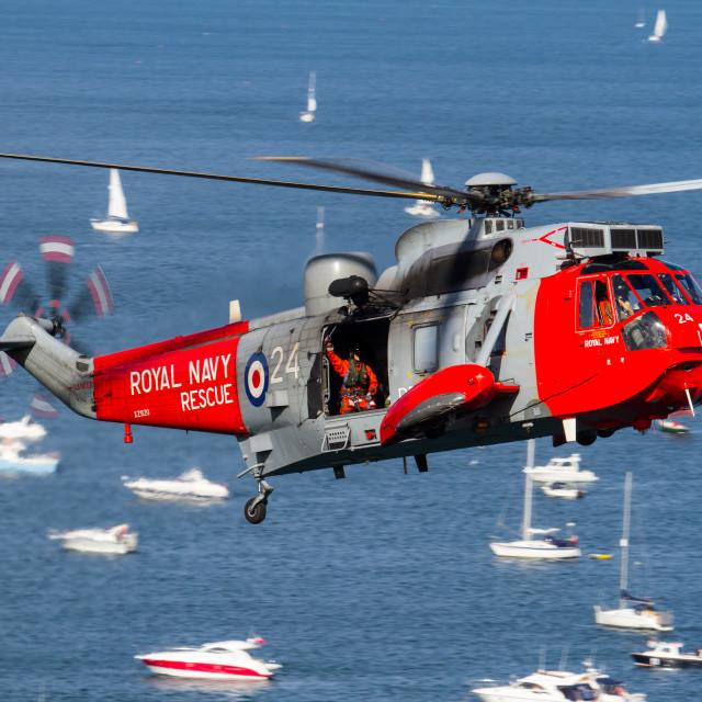 """""""Royal Navy SeaKing at Dawlish 2015"""" stock image"""