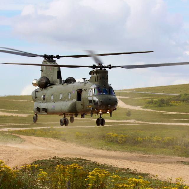 """RAF Chinook on Salisbury Plain"" stock image"