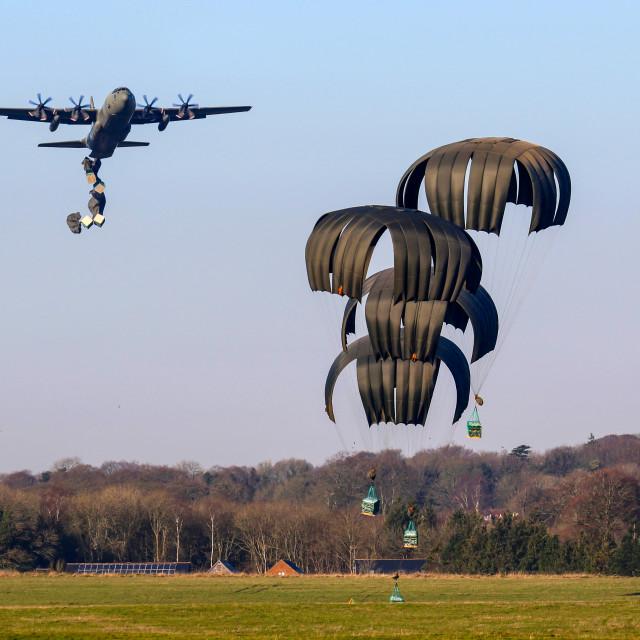 """""""Hercules C130 air drop"""" stock image"""