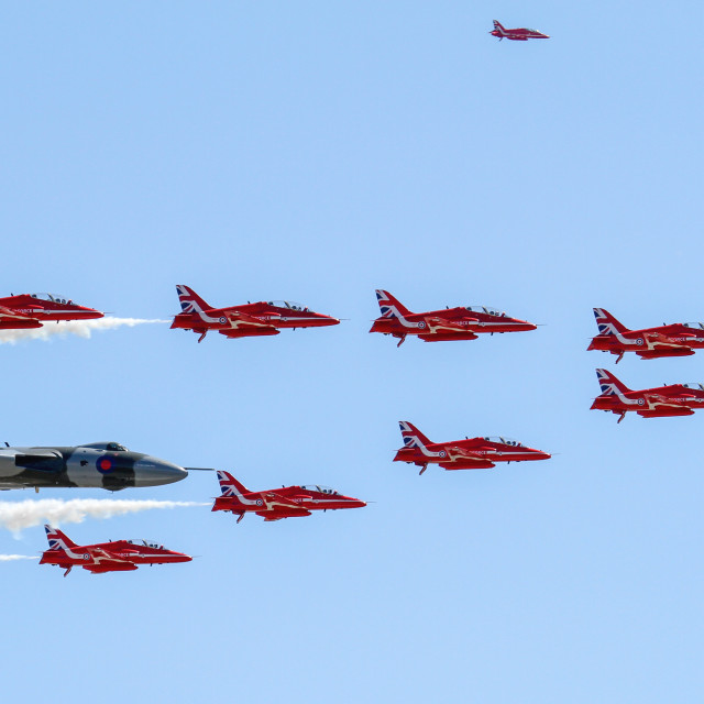 """""""Vulcan Bomber Flypast with Red Arrows"""" stock image"""