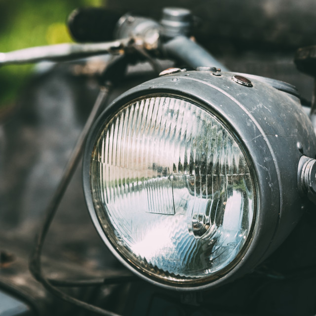 """Close View Of Headlight Of Old Rarity Gray Tricar Or Three-Wheeled Motorbike..."" stock image"