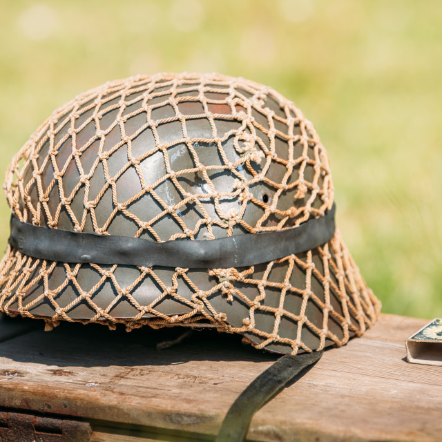 """Close Metal Helmet Of Infantry Soldier Of Wehrmacht, Nazi Germany Of World..."" stock image"