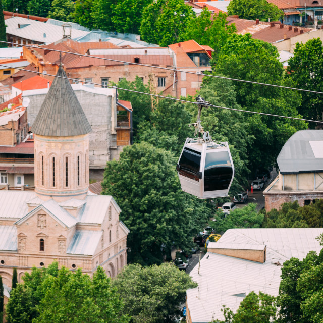 """""""Top View Of Jvaris Mama Ancient Christian Church, Moving Cableway Car Under..."""" stock image"""