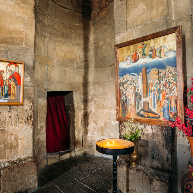 """Mtskheta Georgia. Two Icons On Stone Walls In Interior Of Jvari Church,..."" stock image"