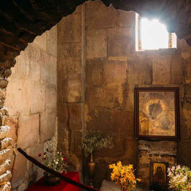 """Mtskheta Georgia. View Through Arch To Icon Of Theotokos Under Window In..."" stock image"