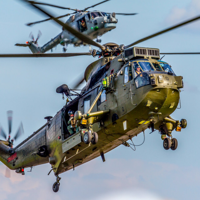 """Royal Navy Sea King and Lynx"" stock image"