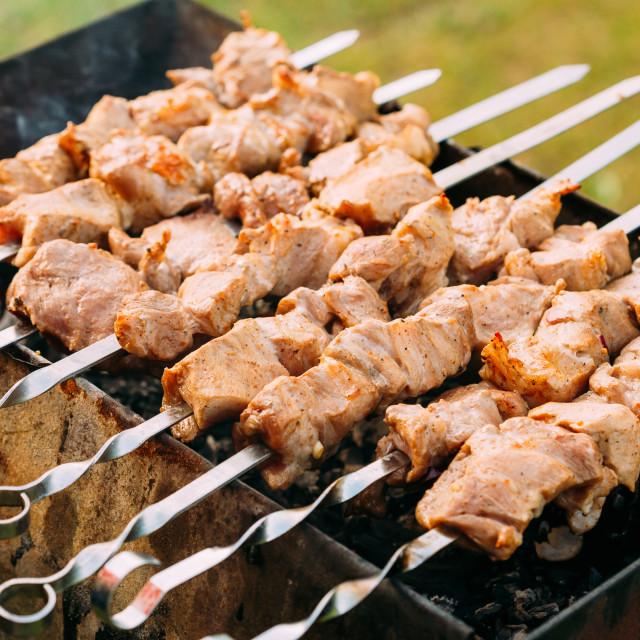 """""""Grilled Barbecue Meat Shashlik Shish Kebab Pork Meat Grilling On Metal Skewer"""" stock image"""