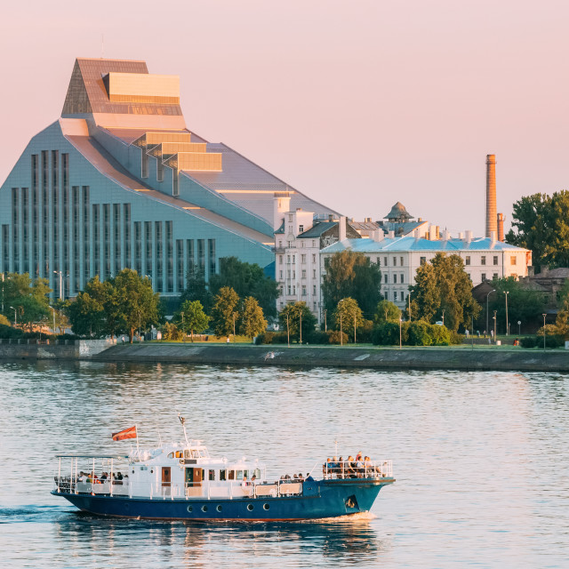 """""""Riga, Latvia. View Of Building Of National Library Lock Of Light, Modern..."""" stock image"""