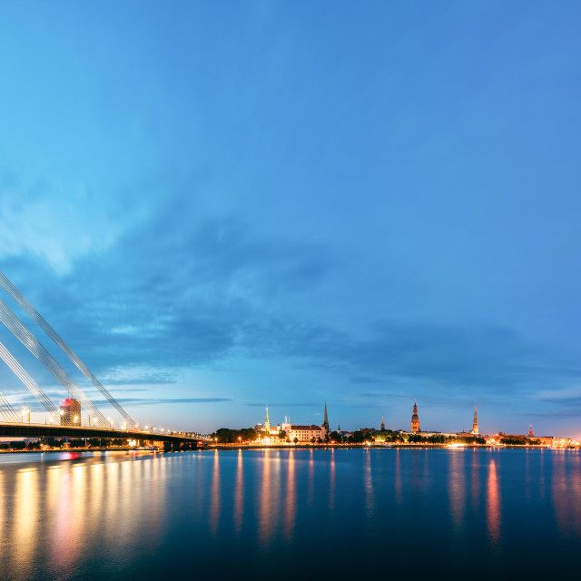 """Vansu Bridge In Riga, Latvia. Shroud Bridge. Cable-Stayed Bridge"" stock image"
