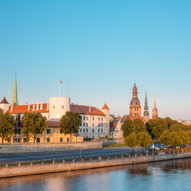 """View To Promenad Of Daugava, In Riga, Latvia. Ab Dambis. Travel Destination...."" stock image"
