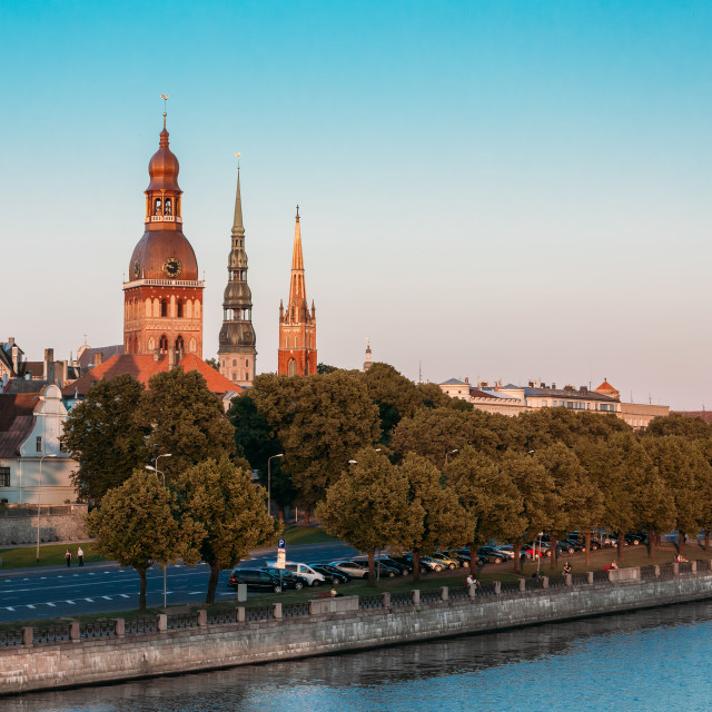 """Riga Latvia. View Of 11 November Embankment Of Daugava. Towers And Steeples..."" stock image"