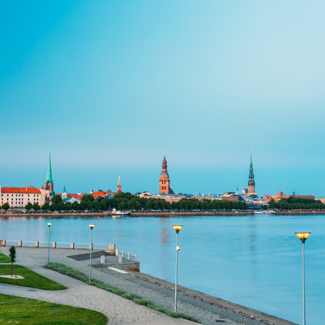 """Scenic View To Promenad Of Daugava, In Riga, Latvia. Old Church Towers...."" stock image"