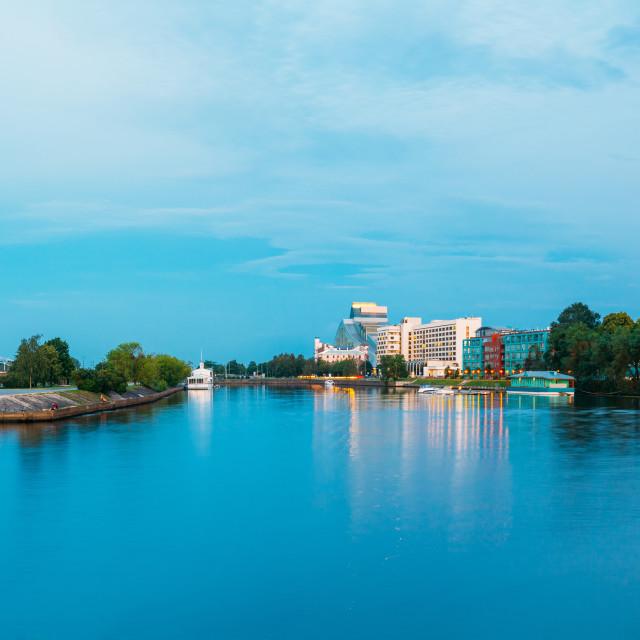 """""""Cityscape At Evening Of Riga, Latvia. National Library Of Latvia, Riga Radio..."""" stock image"""