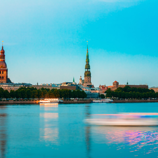 """Riga Latvia. Panoramic View Of Daugava River Old Town, Towers Of Riga..."" stock image"
