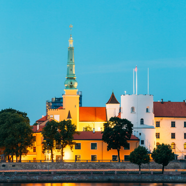 """Latvia. Riga Castle. Landmark, President Residence On Embankment Of Daugava..."" stock image"