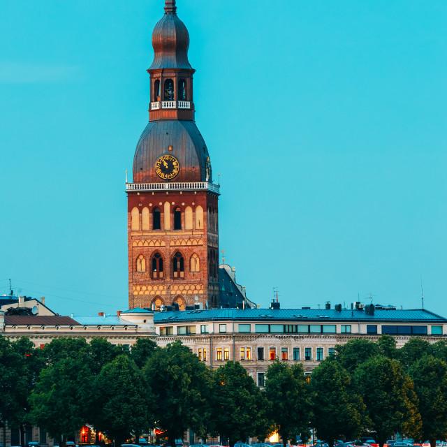 """Riga Latvia. View Of Tower Of Riga Dome Cathedral Behind Daugava River..."" stock image"