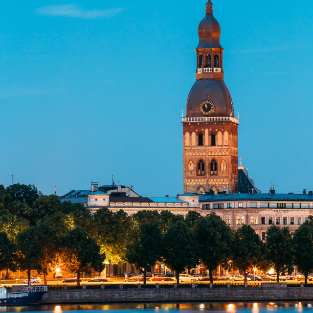 """Riga Latvia. Tower Of Riga Dome Cathedral In Evening Illumination. View From..."" stock image"