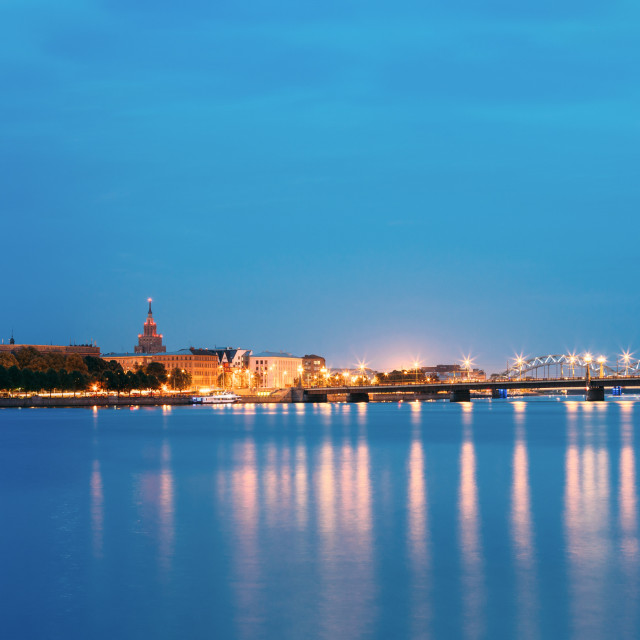 """Riga Latvia. Panoramic Urban View Of Daugava, Landmarks In Illumination, Blue..."" stock image"