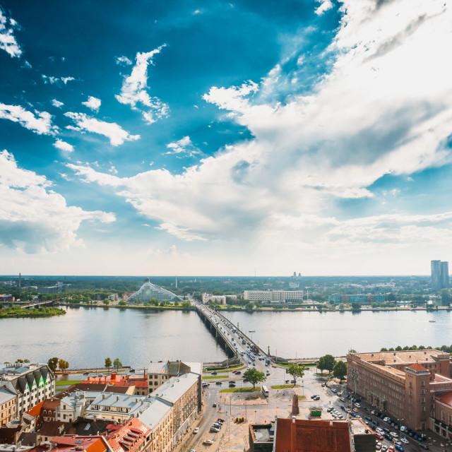 """Riga, Latvia. Akmens Tilts - Stone Bridge Street In Summer Day. Top View,..."" stock image"