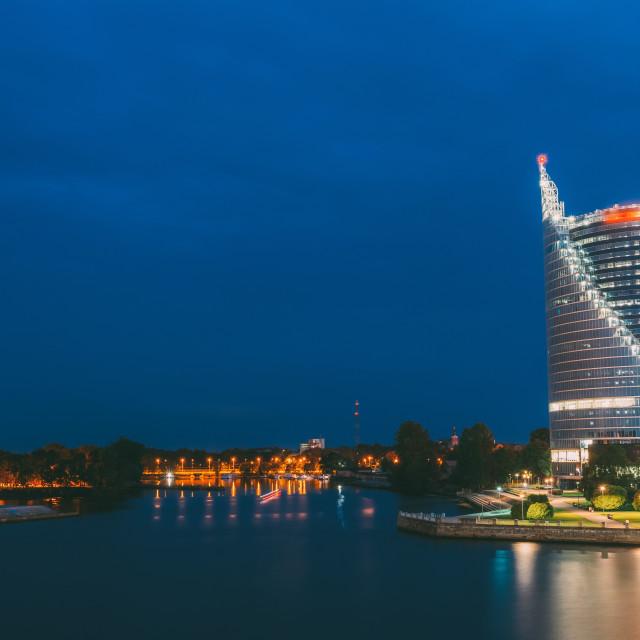 """Riga Latvia. Urban Cityscape Of Modern Downtown With Embankment Of Daugava In..."" stock image"