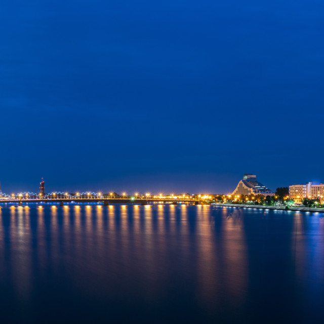 """Riga Latvia. Panoramic Cityscape In Evening Illumination On Both Sides Of..."" stock image"