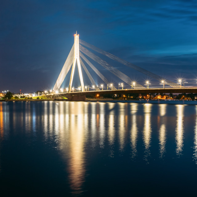 """Riga Latvia. Scenic View Of Vansu Cable-Stayed Bridge In Evening Illumination..."" stock image"