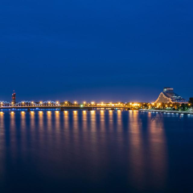 """""""Night Cityscape Of Riga, Latvia. View On The National Library Of Latvia. Riga..."""" stock image"""