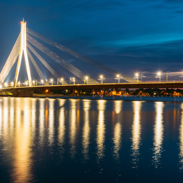 """Riga Latvia. Scenic View Of Vansu Cable-Stayed Bridge In Night Illumination..."" stock image"