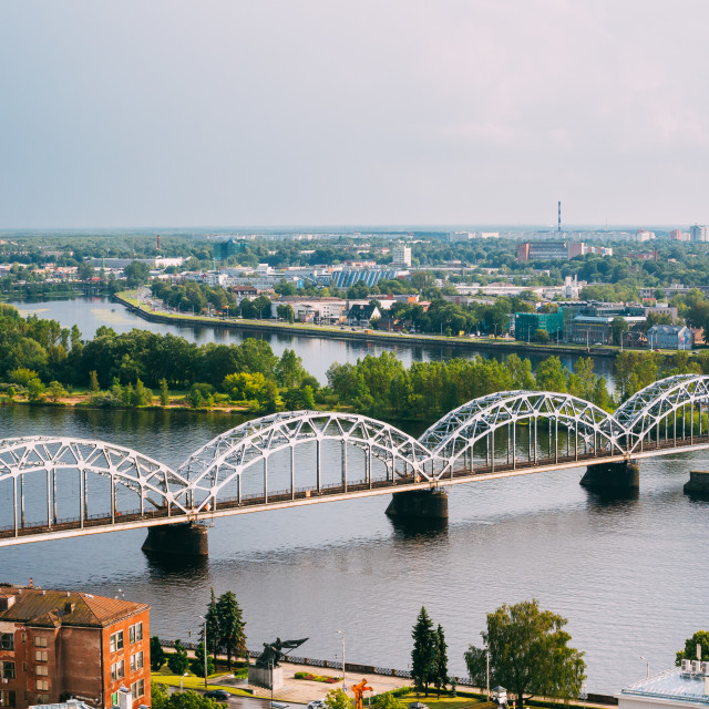 """Riga, Latvia. Aerial View Of Railway Bridge Through Daugava Or Western Dvina..."" stock image"