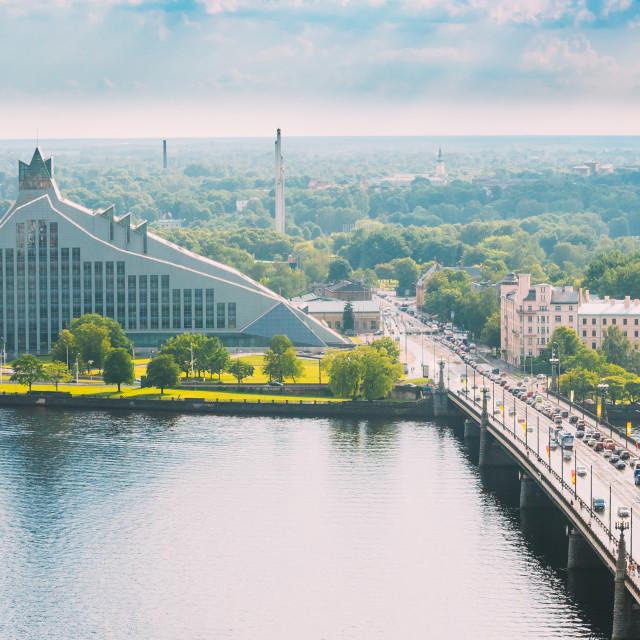 """Riga, Latvia. Traffic On Akmens Tilts - Stone Bridge Street. Top View, Aerial..."" stock image"
