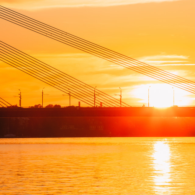 """Riga, Latvia. Vansu Cable-Stayed Bridge Over The Daugava River, Western Dvina..."" stock image"