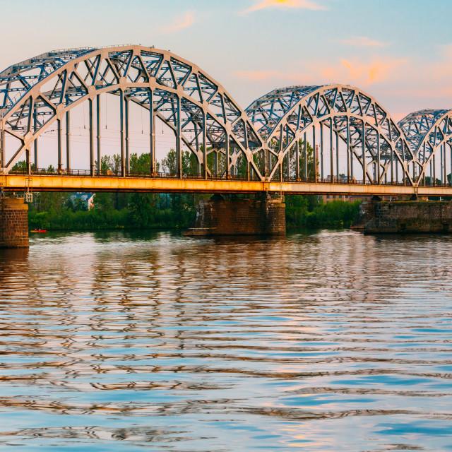 """Riga, Latvia. Railway Bridge Through Daugava Or Western Dvina River At Sunny..."" stock image"