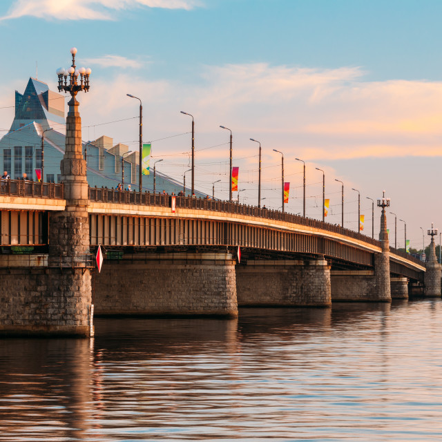 """""""Riga, Latvia. Akmens Tilts - Stone Bridge Street At Sunset, Sunrise Time At..."""" stock image"""