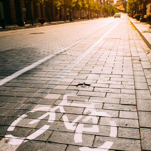 """""""Bycycle Road Sign, Road Marking Of Bicycle Path Along Avenue Or Street In..."""" stock image"""