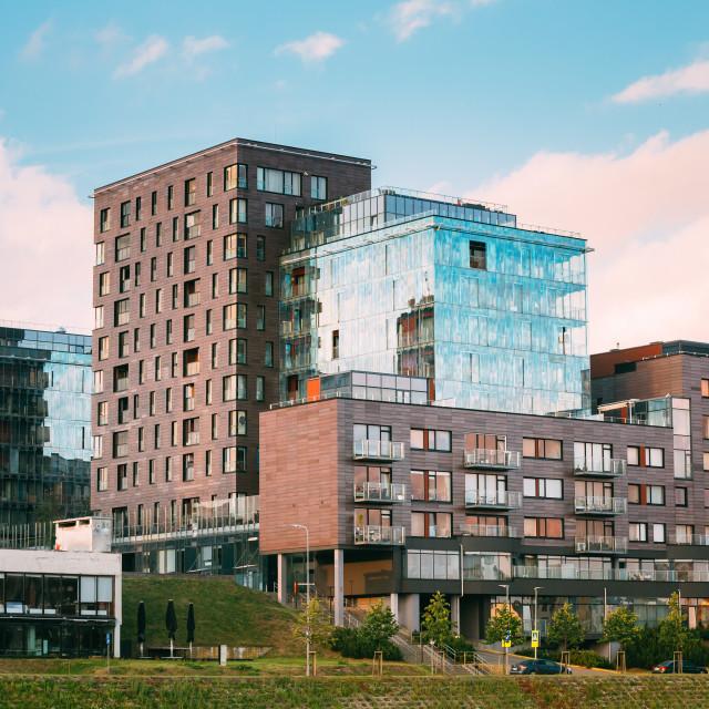"""Vilnius, Lithuania. Contemporary Multilevel Apartment Complex In Scandinavian..."" stock image"