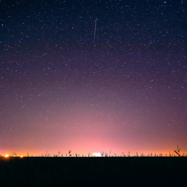 """""""Colorful Night Starry Sky Above The Yellow City Lights. Night Glowing Stars."""" stock image"""