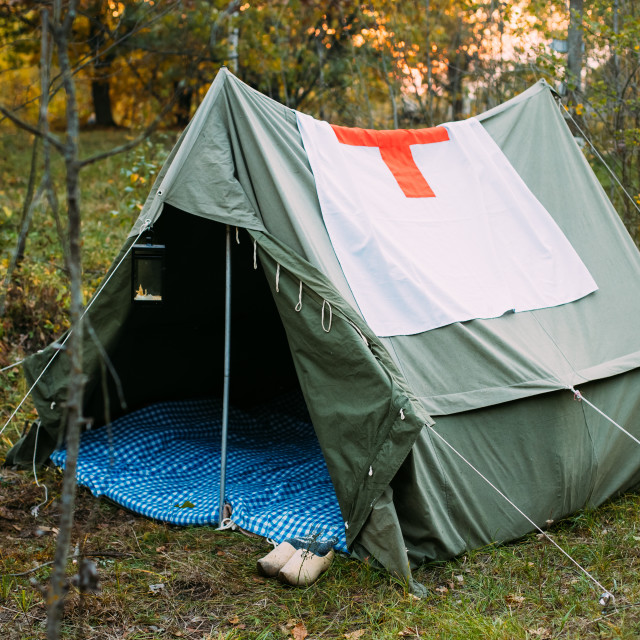 """""""Camp Tent Of Infantry German Wehrmacht Infantry Soldiers During World War II..."""" stock image"""