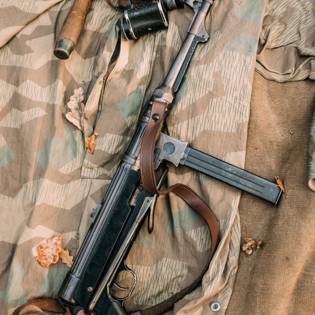 """German Military Ammunition - Grenade, Binoculars And Sub-machine Gun Mp 40 Of..."" stock image"