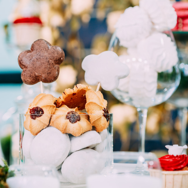 """Dessert Sweet Tasty Marshmallow And Cookies In Candy Bar On Table. Delicious..."" stock image"