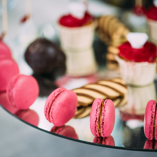"""Dessert Sweet Tasty Macarons In Candy Bar On Table. Delicious Sweet Buffet...."" stock image"
