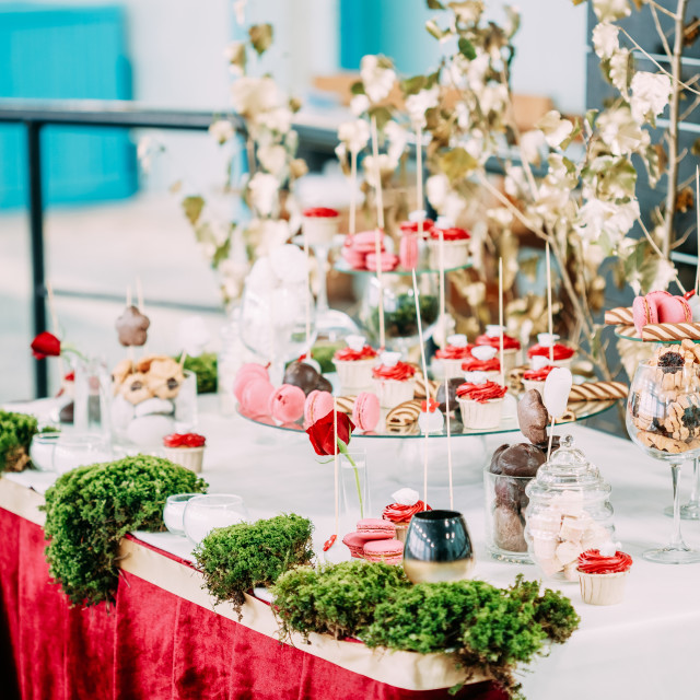 """Dessert Sweet Tasty Cupcakes, Macarons And Cookies In Candy Bar On Table...."" stock image"
