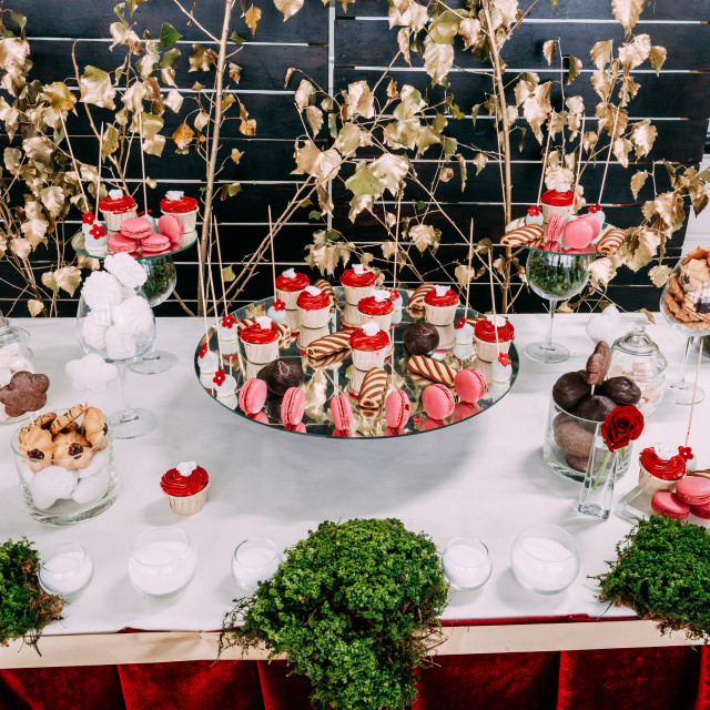 """Dessert Sweet Tasty Cupcakes And Cookies In Candy Bar On Table. Delicious..."" stock image"