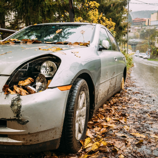 """Broken Lamp Headlight And Bumper Car Scratched With Deep Damage To Paint...."" stock image"