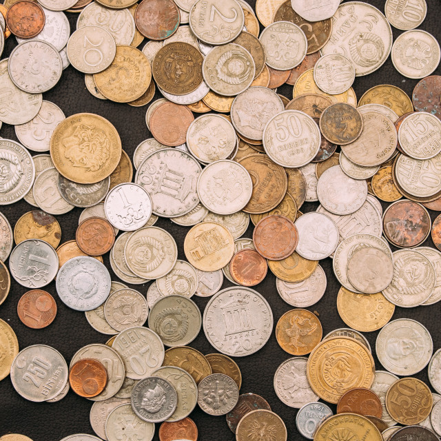 """""""Tbilisi, Georgia. Top View Of Coins Of Different Countries On Black Background"""" stock image"""