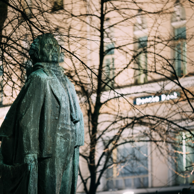 """""""Helsinki, Finland. Evening View Of Monument To Finnish Poet And Journalist..."""" stock image"""