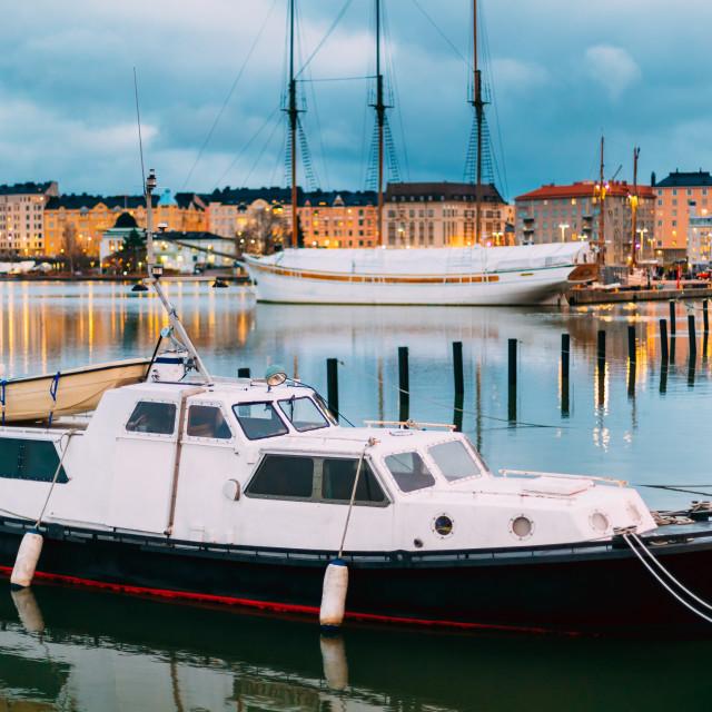 """Helsinki, Finland. Marine Boat, Powerboat In Evening Illumination At Pier"" stock image"