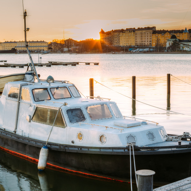 """""""Helsinki, Finland. Marine Boat, Powerboat Moored At Berth In Sunrise Time In..."""" stock image"""